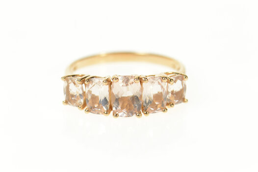 14K Five Stone Syn. Morganite Faceted Cushion Band Rose Gold Ring, Size 8.25