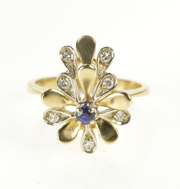 14K Floral Sapphire Diamond Petal Cocktail Yellow Gold Ring, Size 7