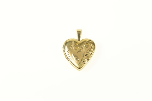 14K Floral Scroll Etched Heart Locket Photo Yellow Gold Pendant