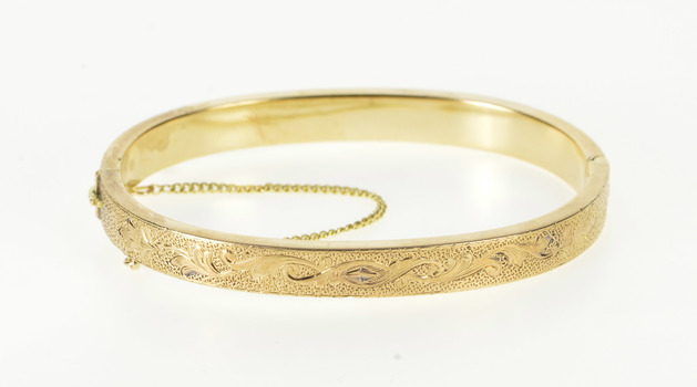 "14K Floral Vine Embossed Ornate Retro Bangle Yellow Gold Bracelet 6"""