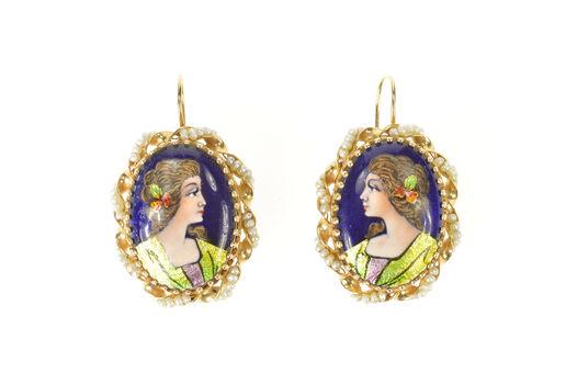 14K French Ornate Ceramic Lady Portrait Dangle Yellow Gold Earrings