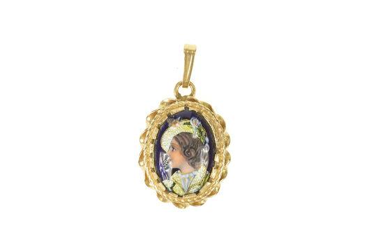 14K French Ornate Ceramic Lady Portrait Yellow Gold Pendant
