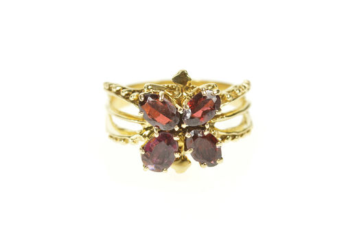 14K Garnet Butterfly Retro Statement Cocktail Yellow Gold Ring, Size 6.75