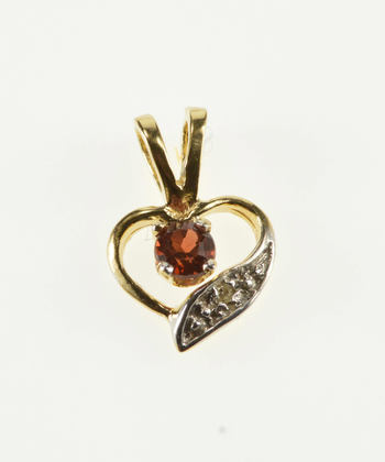 14K Garnet Diamond Inset Wavy Curvy Heart Yellow Gold Pendant