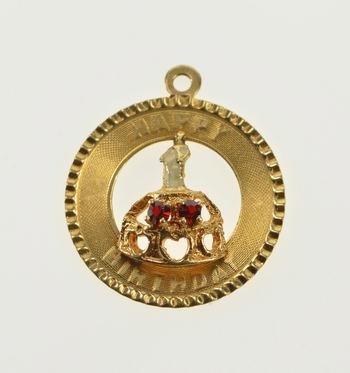 14K Garnet Happy Birthday January Birthstone Yellow Gold Charm/Pendant