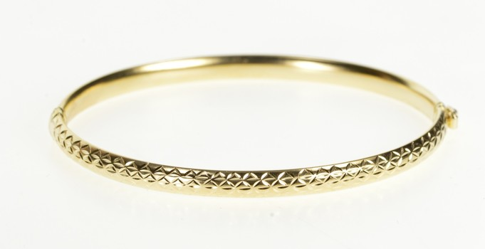 "14K Geometric Pattern Oval Fashion Bangle Yellow Gold Bracelet 7.5"""