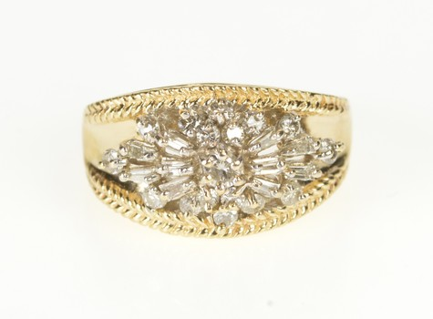 14K Graduated Floral Diamond Cluster Fashion Band Yellow Gold Ring, Size 6.75