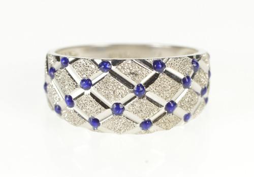 14K Graduated Textured Lattice Blue Enamel Band White Gold Ring, Size 7