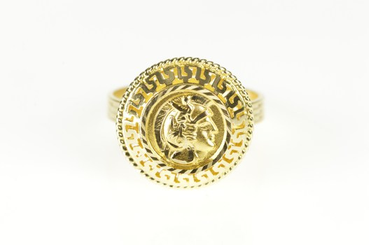 14K Greek Key Wave Soldier Warrior Statement Yellow Gold Ring, Size 7.75