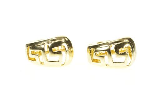14K Greek Wave Key Pattern Huggies Hoop Statement Yellow Gold Earrings