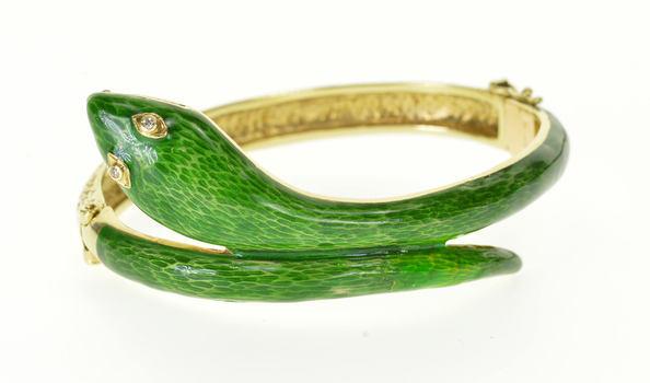 "14K Green Enamel Diamond Textured Oval Bangle Yellow Gold Bracelet 6.5"""