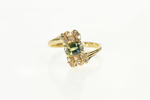 14K Green Sapphire Diamond Bypass Engagement Yellow Gold Ring, Size 7