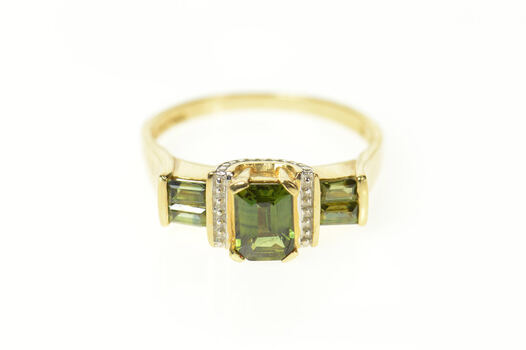 14K Green Tourmaline Baguette Accent Statement Yellow Gold Ring, Size 9.25
