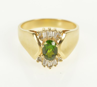 14K Green Tourmaline Baguette Diamond Accent Yellow Gold Ring, Size 8.5
