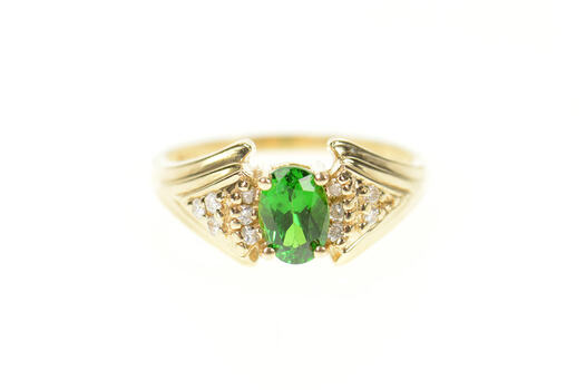 14K Green Tourmaline Diamond Cluster Accent Yellow Gold Ring, Size 5.75