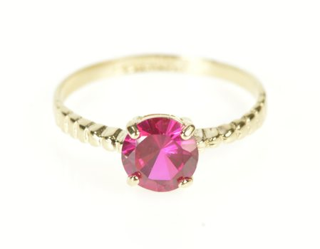 14K Grooved Band Syn. Ruby Solitaire Yellow Gold Ring, Size 6.75