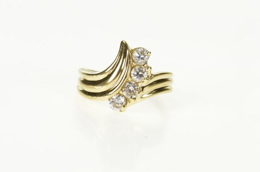 14K Grooved Cubic Zirconia Wave Curve Band Yellow Gold Ring, Size 5.5