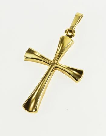 14K Grooved Design Cross Christian Symbol Yellow Gold Pendant