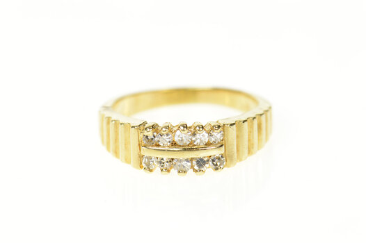 14K Grooved Diamond Statement Stackable Band Yellow Gold Ring, Size 7.25