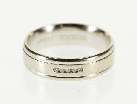 14K Grooved Flat Edge Diamond Channel Inset Band White Gold Ring, Size 5.25