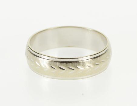 14K Grooved Leaf Patterned Men's Wedding Band White Gold Ring, Size 10.75