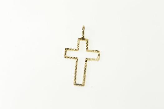 14K Grooved Pattern Cross Christian Faith Yellow Gold Pendant