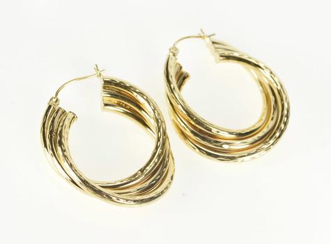 14K Grooved Pattern Twist Design Fashion Hoop Yellow Gold Earrings