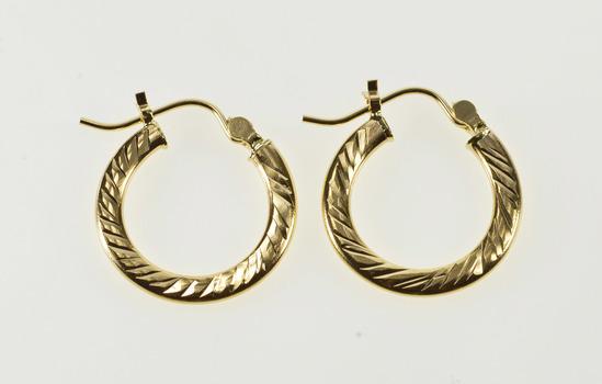 14K Grooved Swirl Twist Pattern Squared Hoop Yellow Gold Earrings