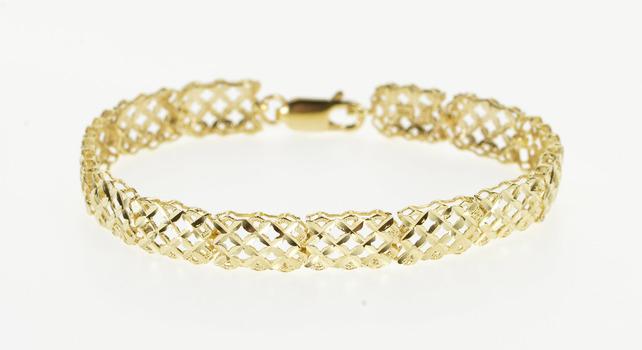 "14K Grooved Textured Lattice Pattern Link Yellow Gold Bracelet 6.5"""
