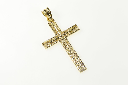 14K Grooved Textured Pattern Cross Christian Faith Yellow Gold Pendant