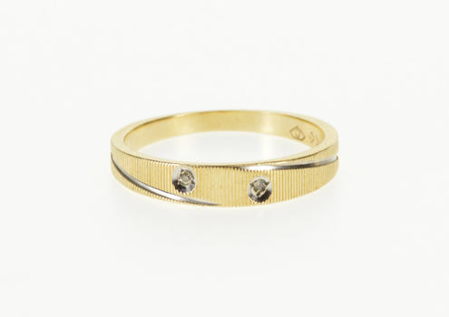 14K Grooved Two Tone Diamond Inset Textured Band Yellow Gold Ring, Size 4.25