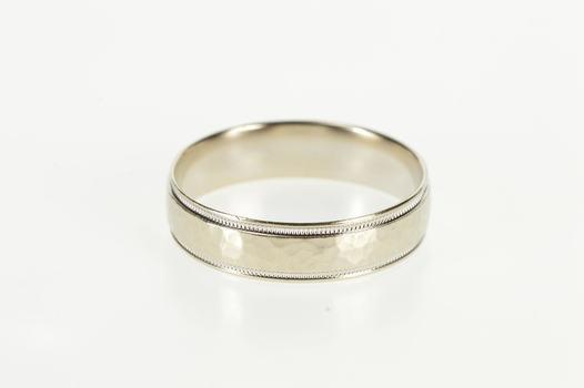 14K Hammered Texture Milgrain Men's Wedding Band White Gold Ring, Size 12.75