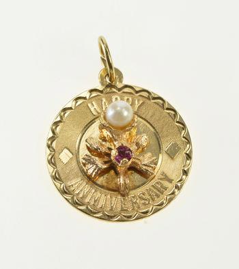 14K Happy Anniversary Retro Amethyst Pearl Flower Yellow Gold Charm/Pendant