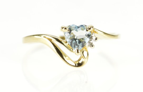 14K Heart Blue Topaz Diamond Accent Bypass Yellow Gold Ring, Size 7