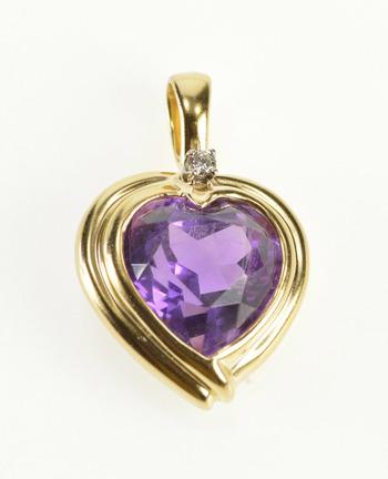 14K Heart Cut Amethyst Diamond Accent Ornate Yellow Gold Pendant