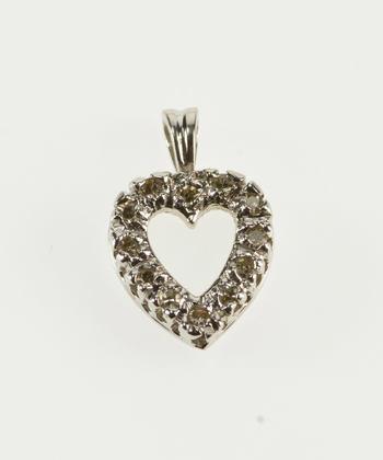 14K Heart Cut Out Diamond Inset Encrusted Love Symbol White Gold Pendant