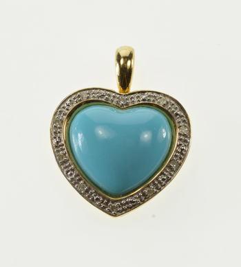 14K Heart Cut Sim. Turquoise Diamond Accent Halo Yellow Gold Pendant
