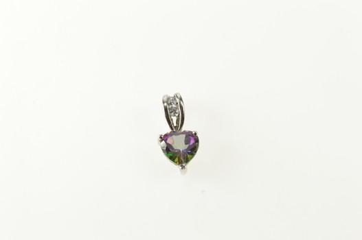 14K Heart Mystic Topaz Cubic Zirconia Accent White Gold Pendant
