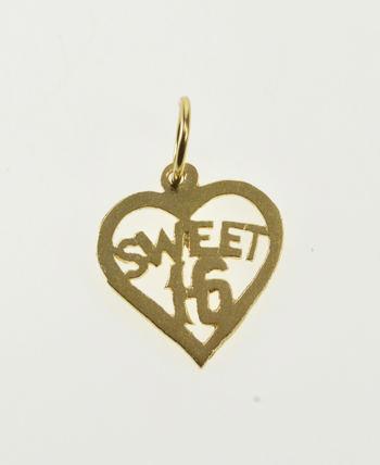 14K Heart Sweet 16 Sixteenth Birthday Sixteen Yellow Gold Charm/Pendant