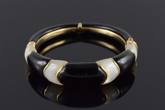 "14K Heavy Designer - Black Onyx Mother of Pearl Bangle Yellow Gold Bracelet 2.25"""