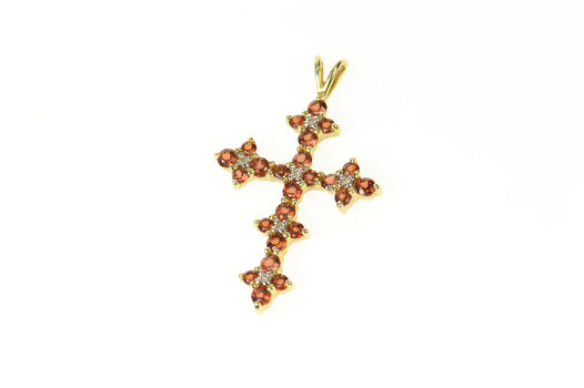 14K Hessonite Garnet Diamond Cross Christian Yellow Gold Pendant