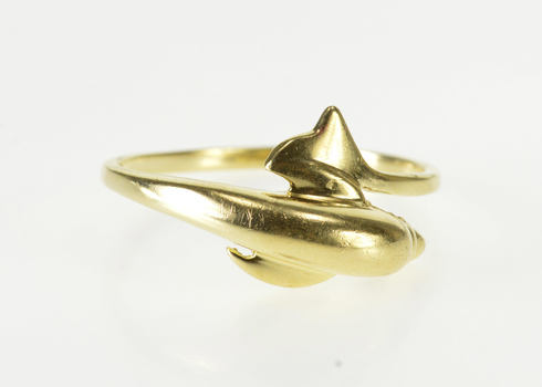 14K High Relief Dolphin Wrap Freeform Bypass Yellow Gold Ring, Size 6.25