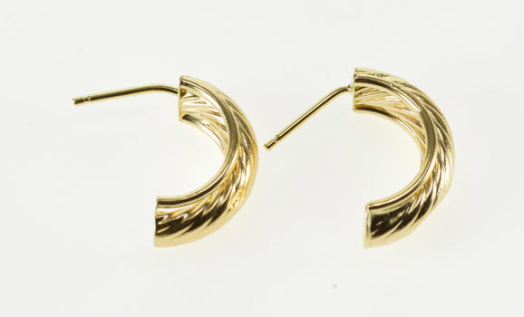 14K High Relief Rounded Grooved Design Half Hoop Yellow Gold EarRings