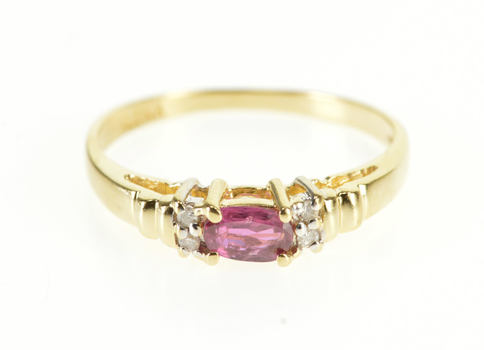 14K Horizontal Oval Ruby* Diamond Accented Yellow Gold Ring, Size 5.5