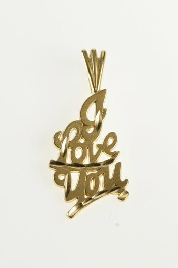 14K I Love You Romantic Anniversary Gift Yellow Gold Pendant