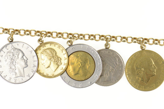 """14K Italian Coin Rolo Chain Statement Yellow Gold Necklace 18.25"""""""