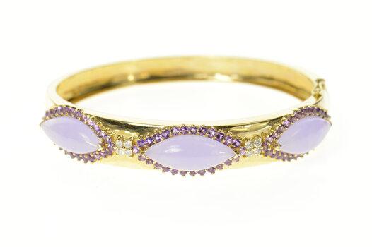 "14K Jade Amethyst Halo Diamond Cluster Bangle Yellow Gold Bracelet 6.25"""