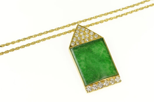 """14K Jade Diamond Squared Ornate Rope Chain Yellow Gold Necklace 18"""""""