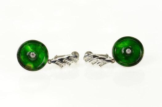 14K Jadeite Diamond Ornate Dangle Screw Back White Gold Earrings