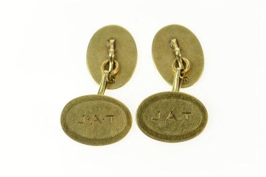 14K JAT Monogram Etched Art Deco Oval Men's Yellow Gold Cuff Links